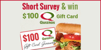 Get a $100 Gift Card to Quizno's