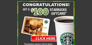 $100 Starbucks Gift Card